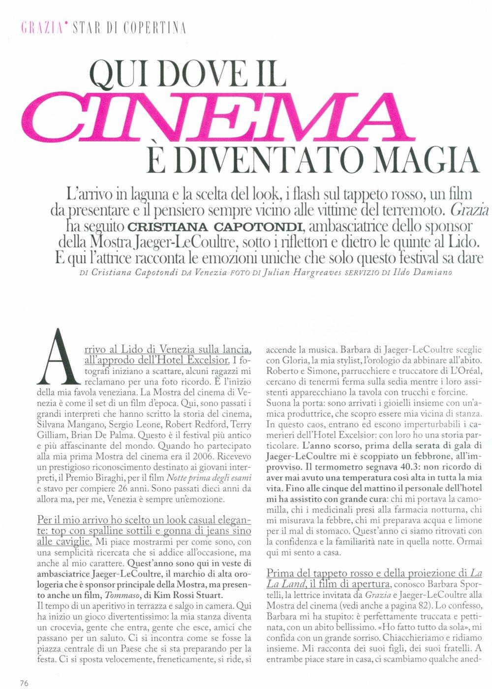 Cristiana Capotondi For Grazia Italy September 2016 Whynot Blog